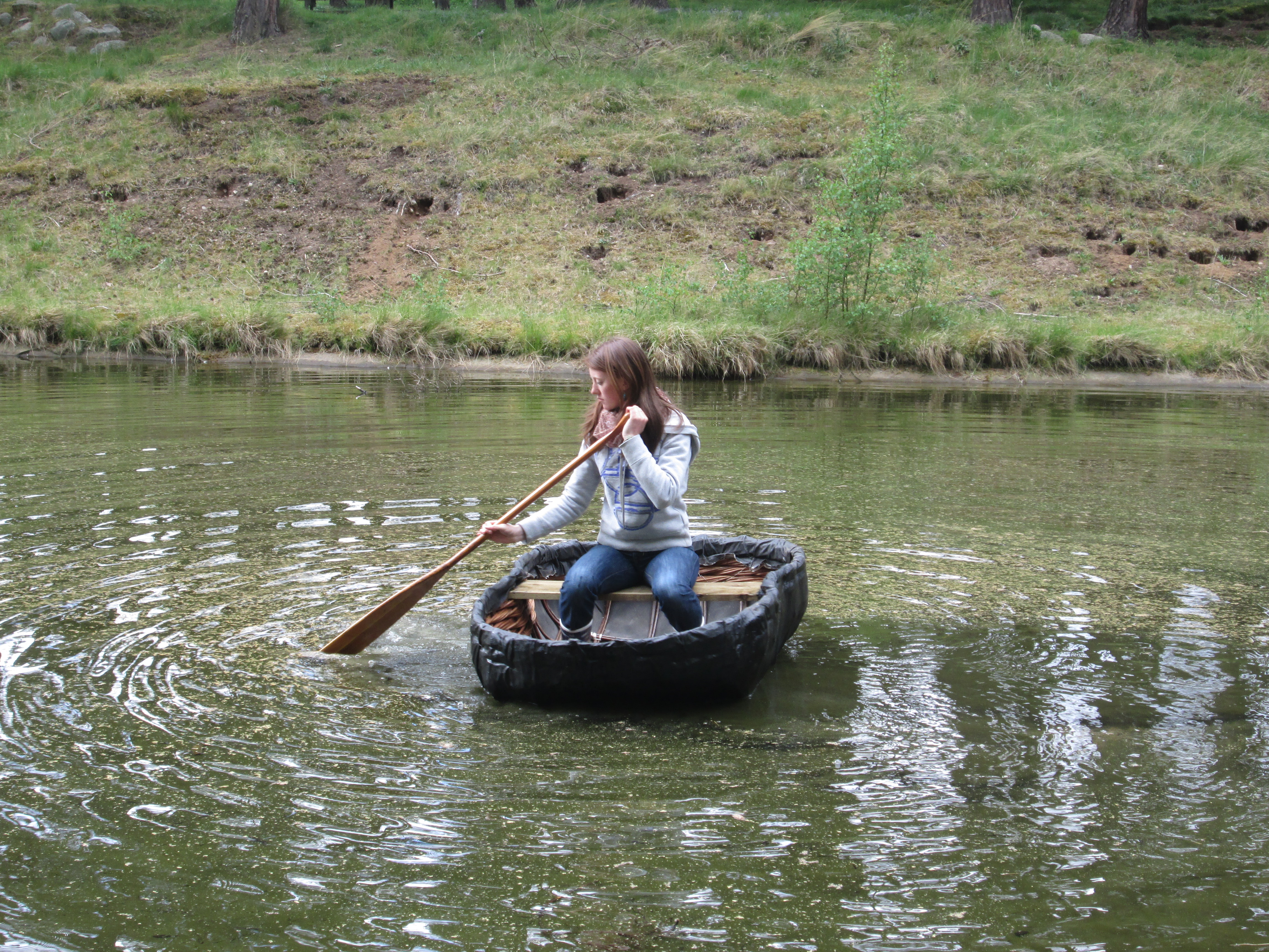 Daughter in a coracle