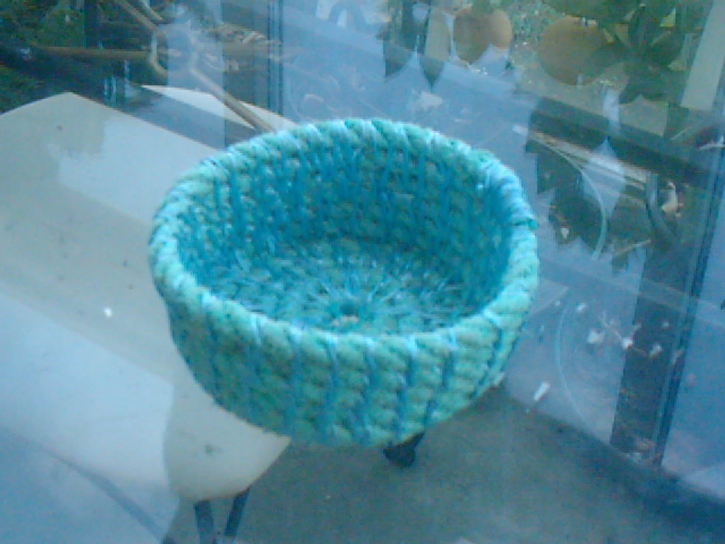 coiled found rope and polypropylene string